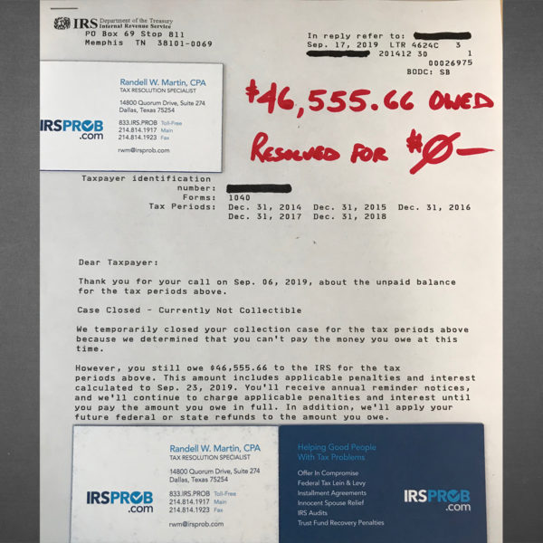 $46,555 – IRS tax liability resolved for $0