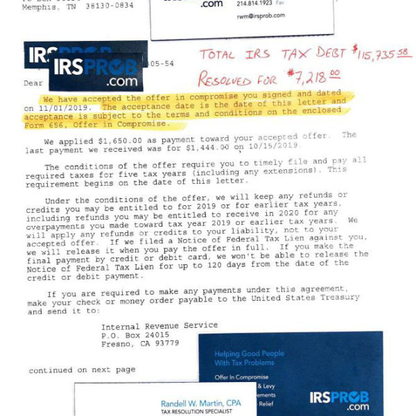 IRSProb.com Settles a Huge IRS Tax Debt for a Fraction of the Amount!